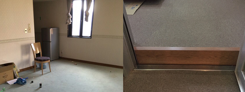 ホテル床改装工事前、室内、客室状況