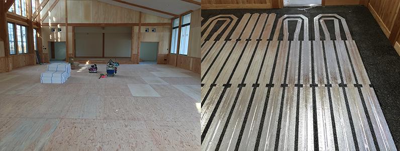 保育園新築工事、床暖房廻りダミー合板、捨て貼り作業
