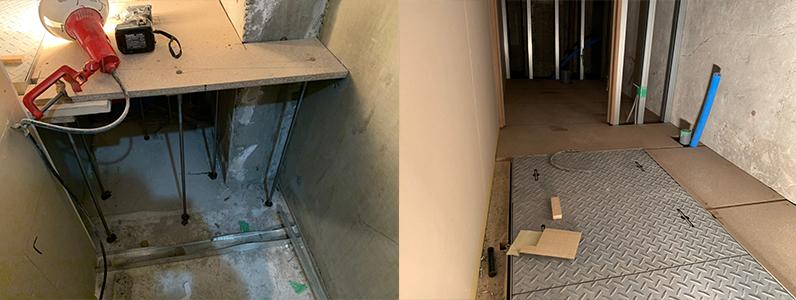 居酒屋店舗工事、置き床・乾式二重床施工、支持脚、パーチクルボード施工