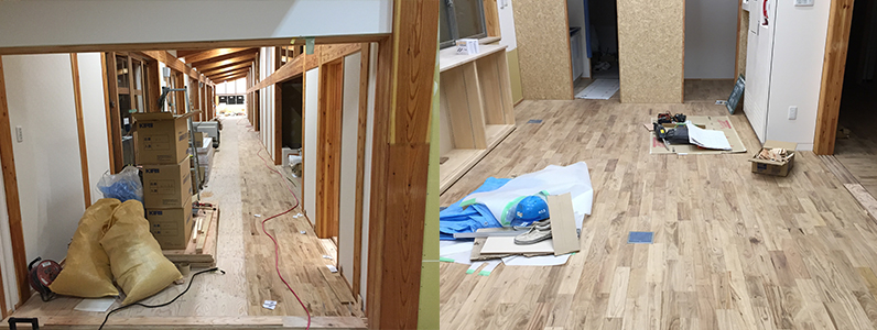 中学校新築工事に伴う置床・乾式二重床、針葉樹合板捨て貼り、フローリング根太張り施工状況