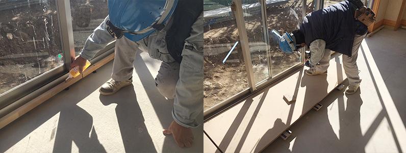 保育園未満児室増築工事、置床・乾式二重床パーティクルボード設置