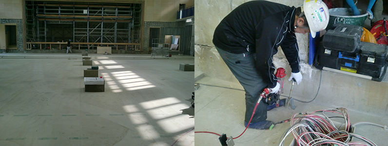 体育館新設に伴う鋼製床下地組み支持脚施工