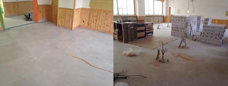 校舎棟新設工事、フローリング直貼り施工前教室
