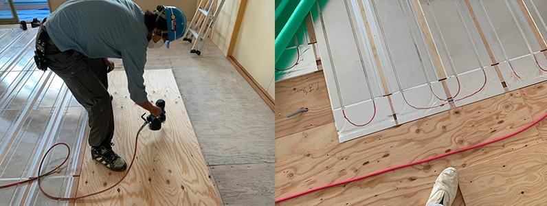 保育園多目的棟新築工事、床暖房廻りダミー捨て貼り施工