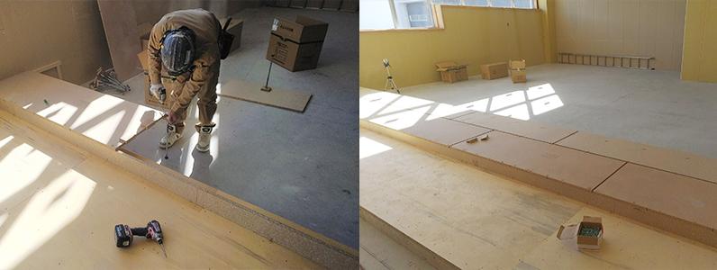 高等学校新築工事、置床・乾式二重床段差施工