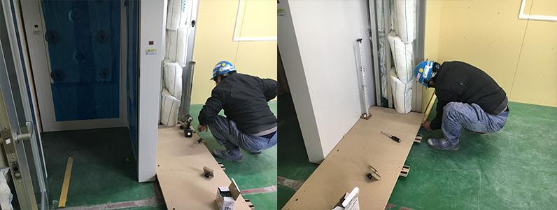 工場内事務所改修工事、既存塗床上置床・乾式二重床施工