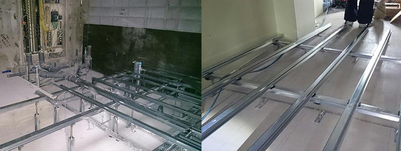 センター内室内及び廊下スロープ鋼製床下地組み大引き根太施工