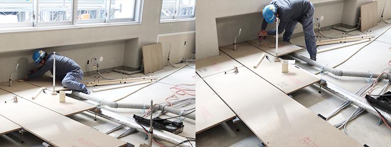 大学キャンパス新設に伴う置床・乾式二重床工事パーティクルボード設置、支持脚設置