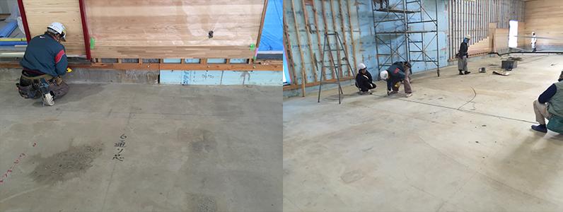 体育館床改修工事、組床式鋼製床下地支持脚設置場所墨出し