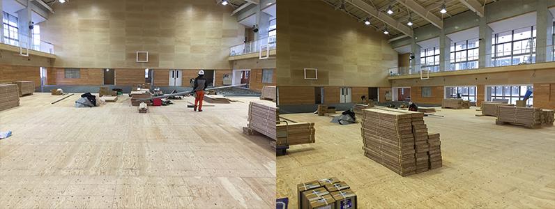 統合集学校体育館新築工事、鋼製床下地施工後スポーツフロアフローリング特殊張り