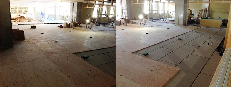 小中統合学校新築工事、置床・乾式二重床パーチクルボード設置後捨て貼り施工