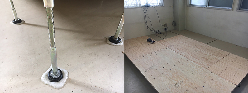 ドラッグストア従業員休憩スペースへの置床・乾式二重床、捨て貼り施工