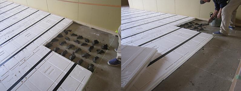 リビング及び室内ネダフォーム施工、コンクリートスラブ面モルタルダンゴ敷き