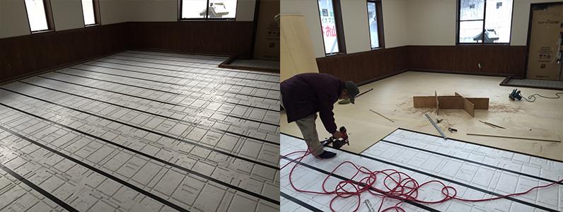 クリーンセンター事務所改修工事ネダフォーム及び捨て貼り作業