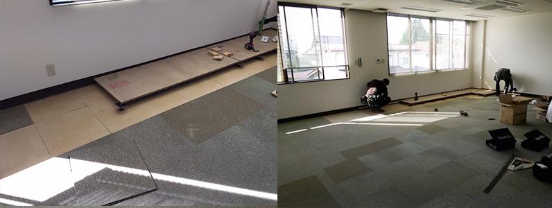 テナントダンススタジオ改修工事、置床・乾式二重床施工