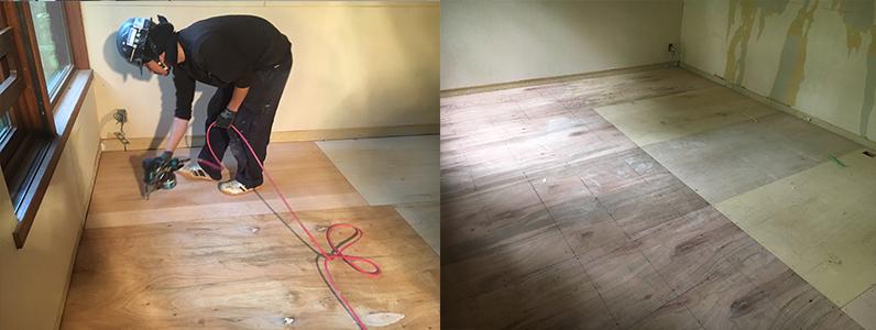 置床・乾式二重床完成後針葉樹合板捨て貼り作業