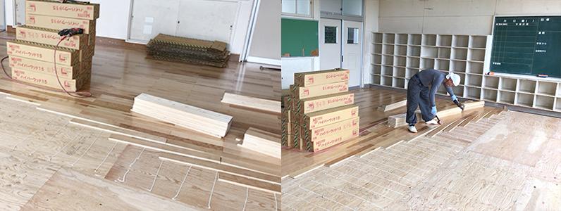 中学校改修工事、置床・乾式二重床施工、捨て貼り後ハイパーウッドフローリング貼り