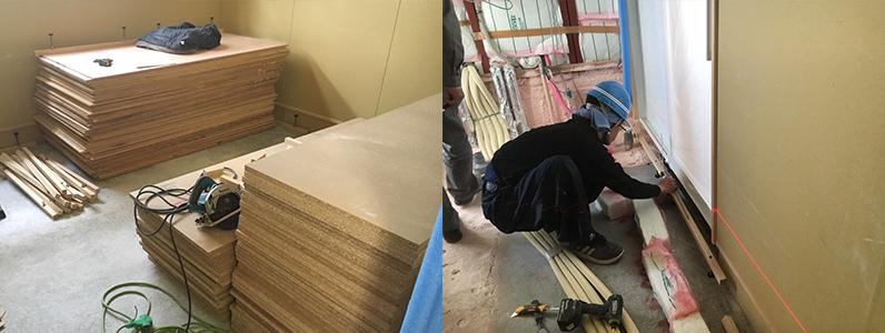 医院新築に伴う置床・乾式二重床際根太レベル調整