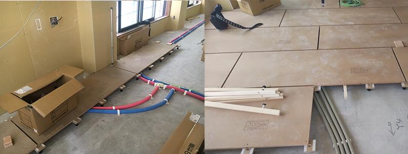 ゲストハウス新築工事、置床・乾式二重床施工