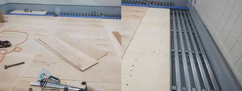 院内、組床式鋼製床下地施工支持脚ネダ設置後捨て貼り