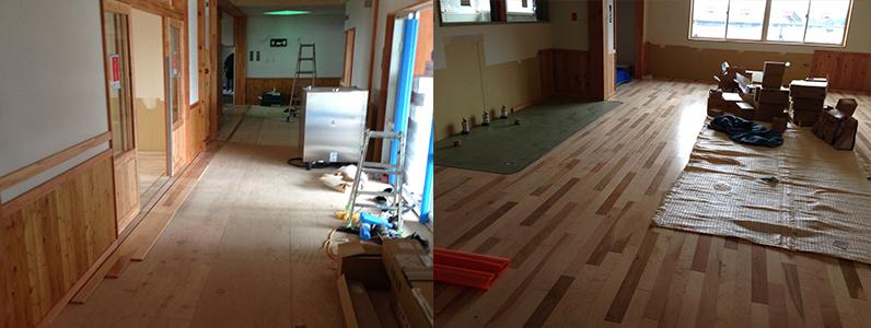 保育園移設新築工事、置床・乾式二重床及びフローリング施工釘打ち