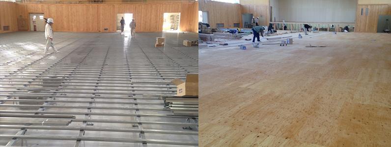体育館用鋼製床下地組組床式施工後針葉樹合板捨て貼り