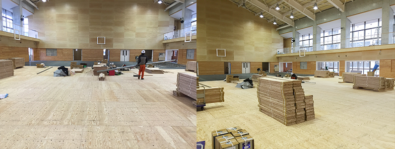 体育館組床タイプ鋼製床下地施工後針葉樹合板捨て貼り工事