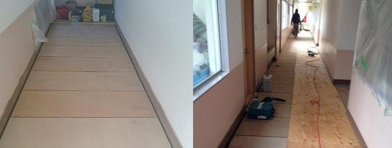 保育園床改修工事、置床・乾式二重床パーチクルボード施工後捨て貼り作業
