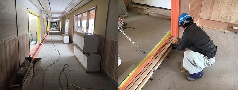保育園第2期新築工事、置床・乾式二重床際根太施工