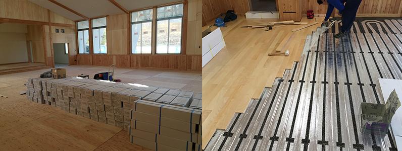 保育園新築工事、床暖房廻りダミー合板、フローリング釘打ち施工