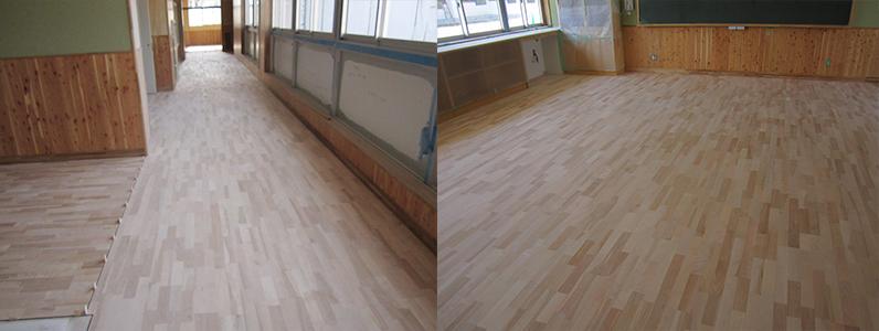 中学校新築工事、フローリング直貼り施工完了