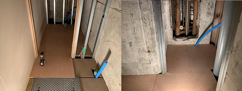 居酒屋店舗工事、置き床・乾式二重床施工、支持脚、パーチクルボード施工レベル調整後捨て貼り作業