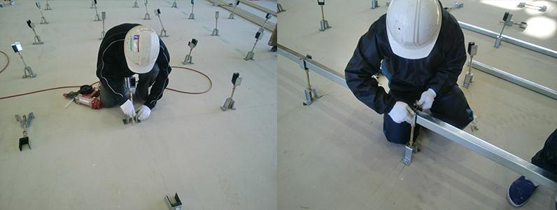 体育館新設に伴う鋼製床下地組み大引き、ネダ設置