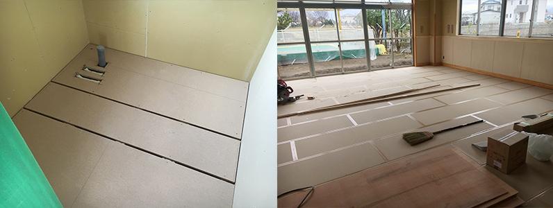 保育園未満児室増築工事、置床・乾式二重床パーティクルボード設置完了