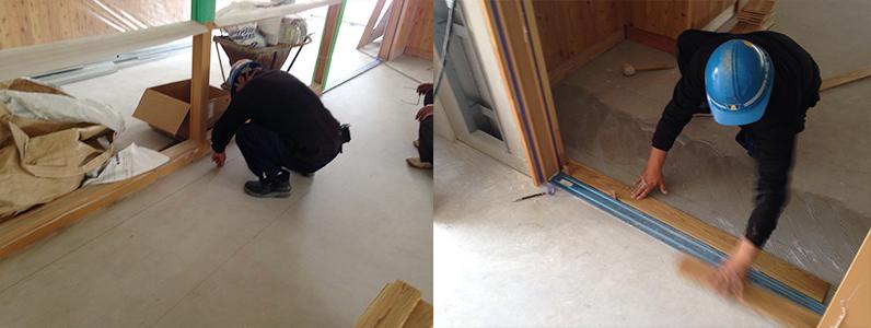 校舎棟新設工事、フローリング直貼り張り出し作業