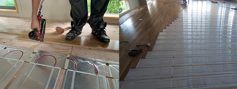 保育園多目的棟新築工事、床暖房廻りダミー捨て貼り施工後、フローリング施工