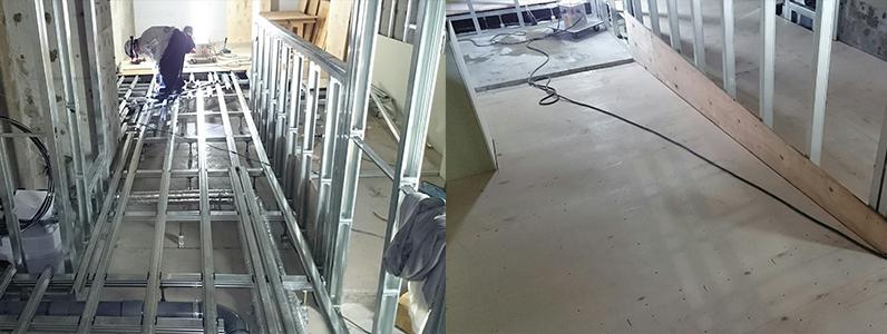 センター内廊下スロープ鋼製床下地組み施工