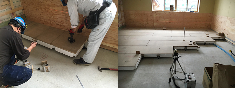 保育園新築工事、置床・乾式二重床、発泡ビーズ泡ポリスチレンフォーム支持脚レベル調整