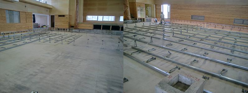 統合集学校体育館新築工事、鋼製床下地支持脚大引き設置