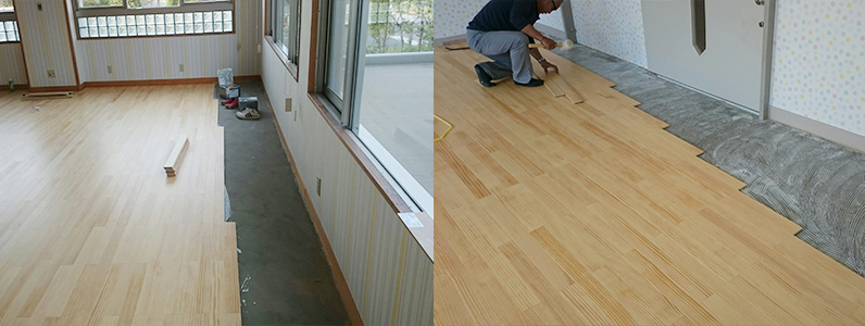 カーペット床改修工事、フローリング直貼り施工状況
