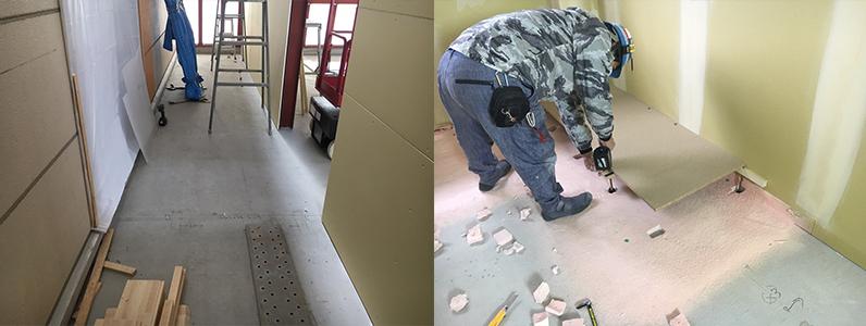 高等学校学生寮増築工事、置床・乾式二重床、wp-180支持脚施工