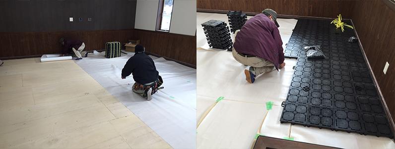 クリーンセンター事務所改修工事、置き敷式OAフロア設置