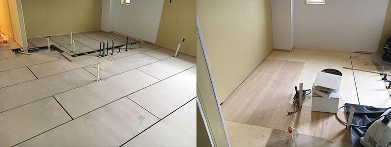 医院新築に伴う置床・乾式二重床施工完了、ベニヤ捨て貼り