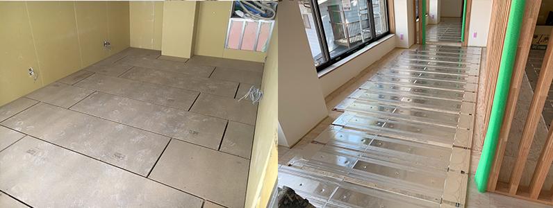 ゲストハウス新築工事、置床・乾式二重床施工完了