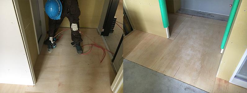 ホテル新築工事、置床・乾式二重床、パーティクルボード設置後、捨て貼り施工完了