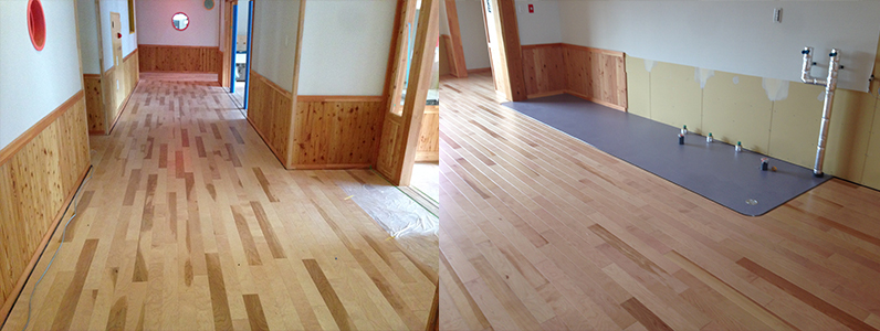保育園移設新築工事、置床・乾式二重床及びフローリング施工完了