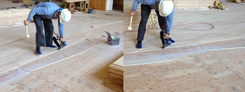 体育館組床タイプ鋼製床下地及び大型積層フローリング特殊貼り施工
