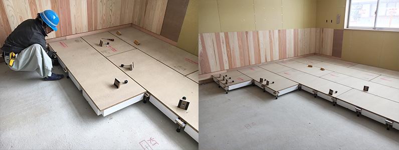 保育園第2期新築工事、置床・乾式二重床断熱パネルパーチクルボード施工、床寒冷地対策