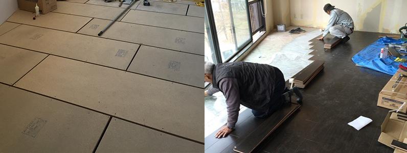 ホテル改装工事、置床・乾式二重床、ヘリンボーン部分張替え、フローリング直貼り
