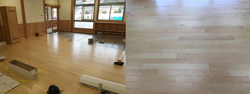 保育園新築工事、床暖房廻りダミー合板、フローリング釘打ち施工完了